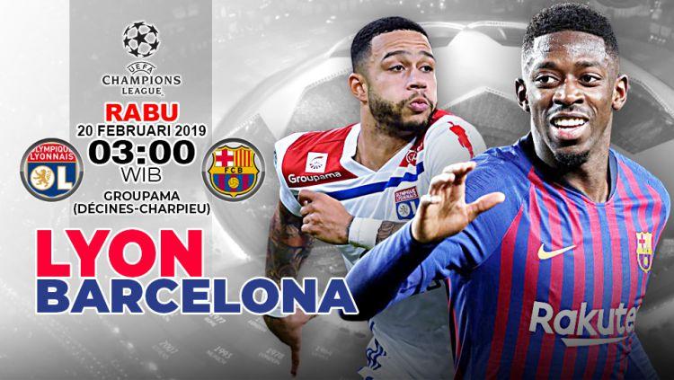 Ilustrasi prediksi pertandingan Lyon vs Barcelona di Liga Champions. Copyright: © Indosport.com