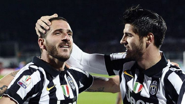 Leonardo Bonucci dan Alvaro Morata ketika masih bersama di Juventus. Copyright: © magephotoagency.it