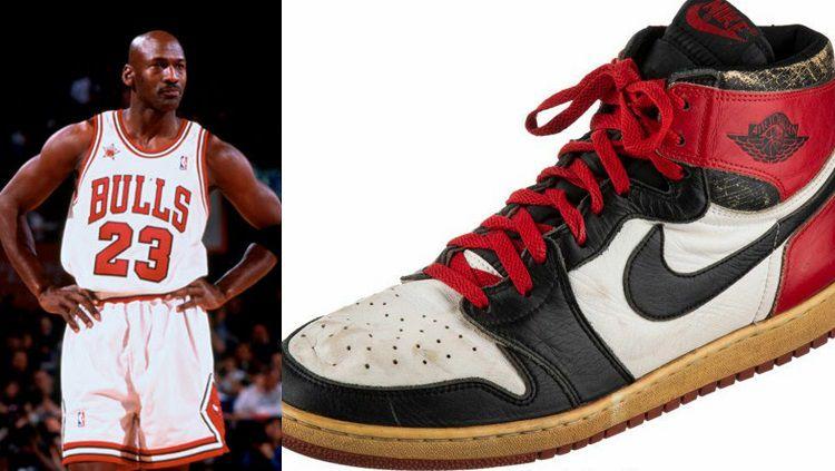 Sepatu Michael Jordan yang konon dibuat pada tahun 1984 sempat terlantar di gudang. Copyright: © NBA/Heritage Auction