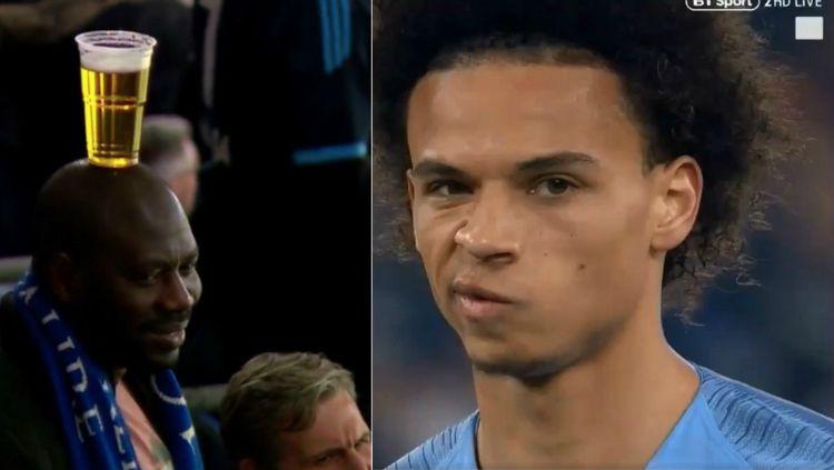 Ekspresi wajah Leroy Sane sebelum cetak gol dan suporter Schalke yang unik. Copyright: © SportBible/GettyImages