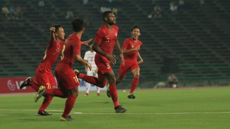 Aksi selebrasi pemain Timnas Indonesia usai Marinus mencetak gol Copyright: © PSSI
