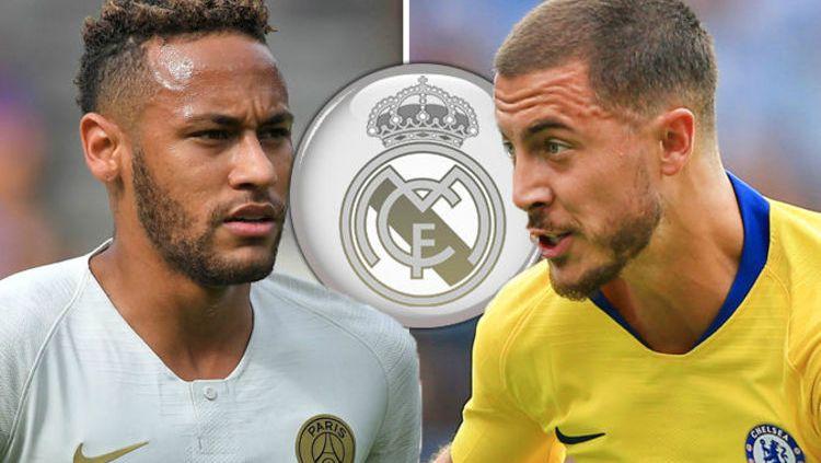 Neymar dan Eden Hazard dirumorkan ke Real Madrid. Copyright: © Daily Express