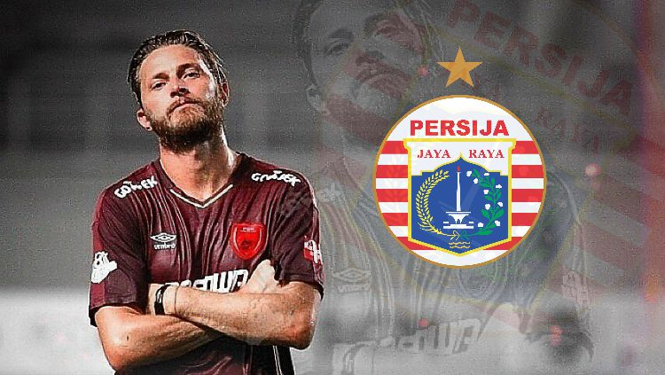 Steven Paulle dan logo Persija. Copyright: © Indosport
