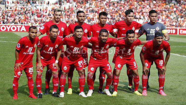 Skuat utama Persija Jakarta saat melawan Becamex Binh Duong pada laga perdana Piala AFC 2019 grup G di stadion GBK, Selasa (26/02/18). Copyright: © Herry Ibrahim/INDOSPORT