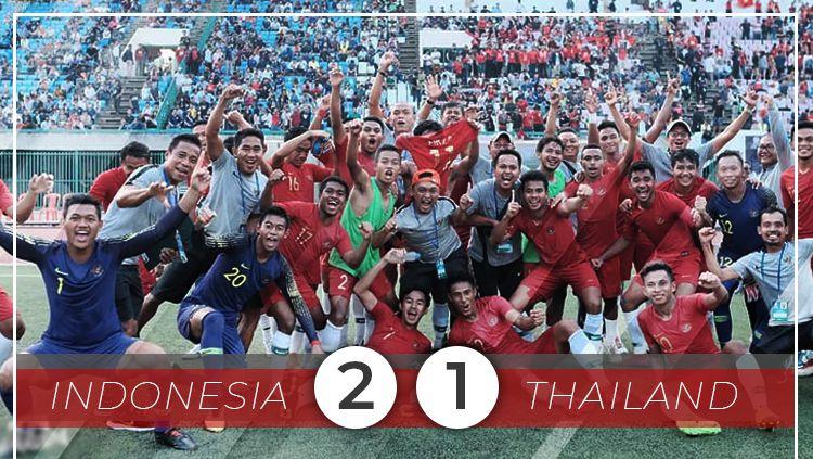 Hasil pertandingan Timnas Indonesia U-22 melawan Thailand di final Piala AFF U-22 2019. Copyright: © INDOSPORT