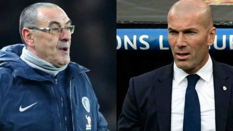 Raksasa Serie A Liga Italia, Juventus, dikabarkan melirik pelatih Real Madrid, Zinedine Zidane, untuk mereka boyong ke Turin demi menggantikan Maurizio Sarri. Copyright: © Kolase Caughtoffside