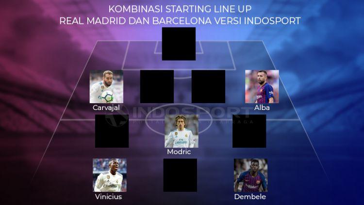 Kombinasi Starting Line Up Real Madrid dan Barcelona versi INDOSPORT Copyright: © INDOSPORT