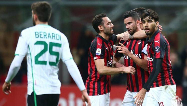 Selebrasi gol pemain AC Milan saat jumpa Sassuolo di pekan ke-26 Liga Italia, Minggu (03/03/19). Copyright: © AC Milan