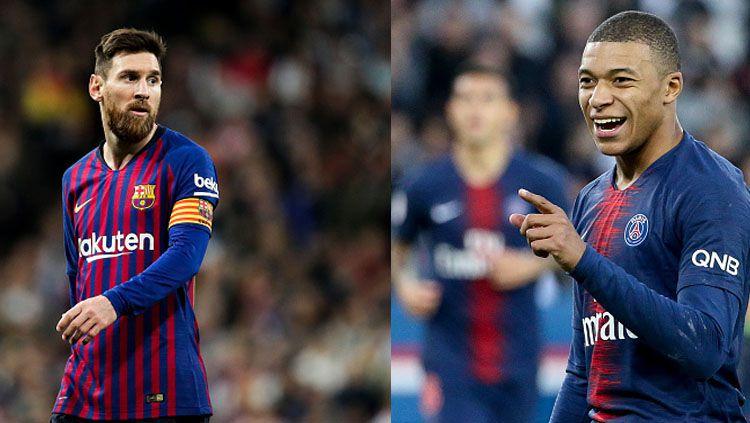 Pemain megabintang Barcelona, Lionel Messi dan Kylian Mbappe, pemain bintang PSG. Copyright: © INDOSPORT