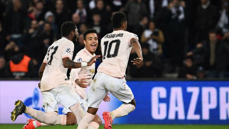 Selebrasi pemain Manchester United usai mengalahkan PSG, Kamis (07/03/19). Copyright: © twitter.com/ChampionsLeague