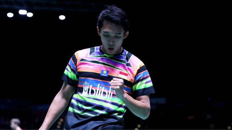 Aksi tunggal putra Indonesia Jonatan Christie di All england 2019. Copyright: © badmintonindonesia.org