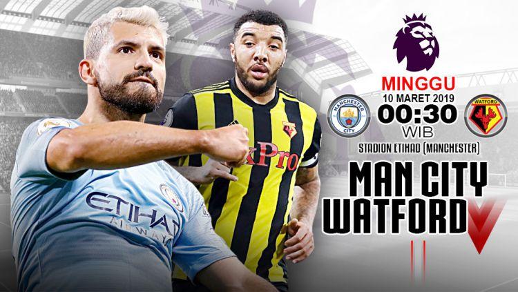 Pertandingan Manchester City vs Watford. Copyright: © Indosport.com
