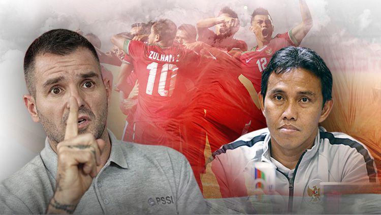 Komparasi skuat Timnas Indonesia era Simon McMenemy vs Bima Sakti. Copyright: © Indosport.com