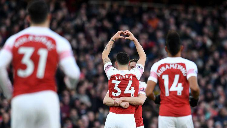 Selebrasi Gol Granit Xhaka di laga Arsenal vs Manchester United, Senin (11/03/19). Copyright: © Arsenal