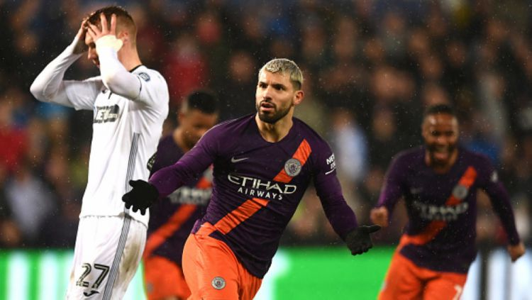 Penyerang Manchester City, Aguero melakukan selebrasi Copyright: © INDOSPORT.COM