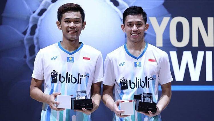 Pasangan Ganda Putra, Fajar Alfian/Muhammad Rian Ardianto sukses menjadi juara Swiss Open 2019. Copyright: © PBSI