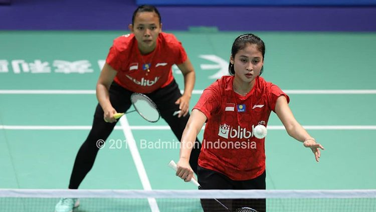 Pasangan Della Destiara Haris/Rizki Amelia Pradipta gagal melangkah ke final Macau Open 2019 usai dikalahkan pasangan Du Yue/Li Yin Hui, Sabtu (02/11/19). Copyright: © PBSI