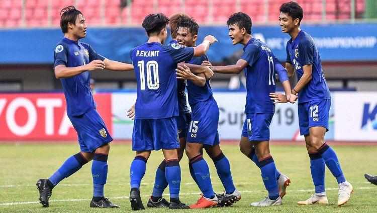 Selebrasi Pemain Thailand U-19 Copyright: © twitter.com/tnnthailand