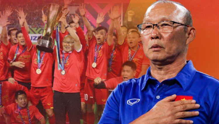 Park Hang Seo bersama Timnas Vietnam mampu torehkan pencapaian ajaib pada peringkat FIFA. Mereka pun menyindir Timnas Indonesia dengan cara ini. Copyright: © Nguoi Dua Tin