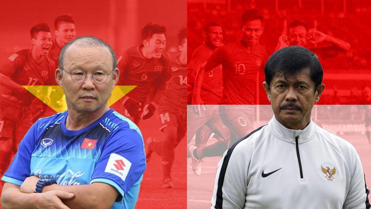Pelatih Timnas Vietnam U 23 (Park Hang Seo)dan Pelatih timnas Indonesia U23(Indra Sjafri). Copyright: © INDOSPORT/Yooan Rizky Syahputra