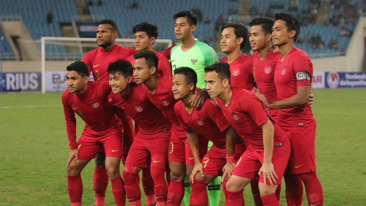 Skuat Timnas Indonesia U-23 saat menghadapi Vietnam. Copyright: © PSSI