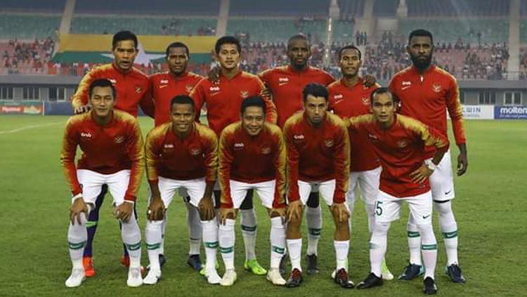Skuat Timnas Indonesia saat melawan Timnas Myanmar dalam laga uji coba internasional FIFA, Senin (25/03/19). Copyright: © PSSI