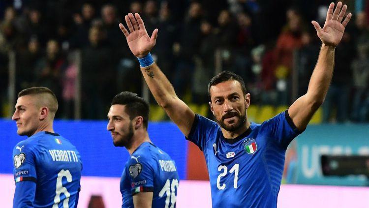 Striker Timnas Italia, Fabio Quagliarella merayakan golnya ke gawang Liechtenstein di ajang Kualifikasi Euro 2020, Rabu (27/03/19) dini hari WIB. Copyright: © goal.com