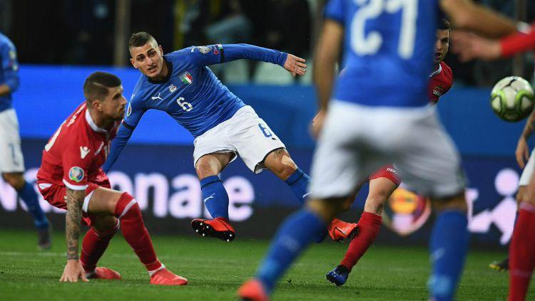 Gelandang Timnas Italia, Marco Verratti saat pertandingan Kualifikasi Euro 2020 menghadapi Lichtenstein, Rabu (27/03/19) dini hari WIB. Copyright: © vivoazzurro.it