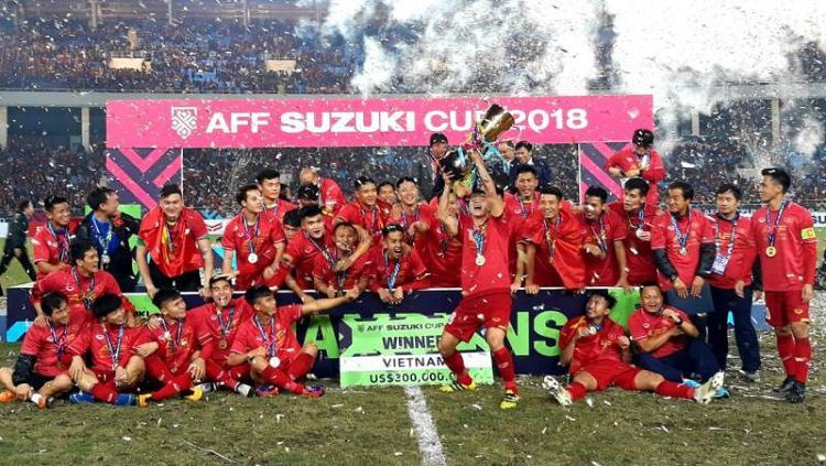Perayaan juara Vietnam di Piala AFF 2018 tahun lalu Copyright: © aseanfootball.org