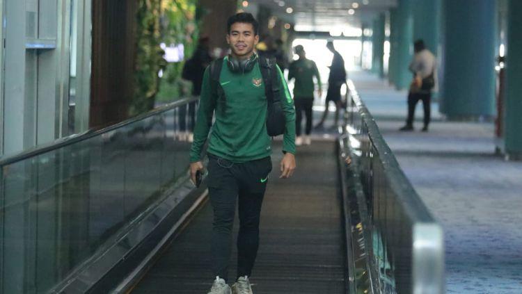Nurhidayat Haji Haris pemain Timnas U-23 tiba di Indonesia. Copyright: © Bandung Saputra/PSSI