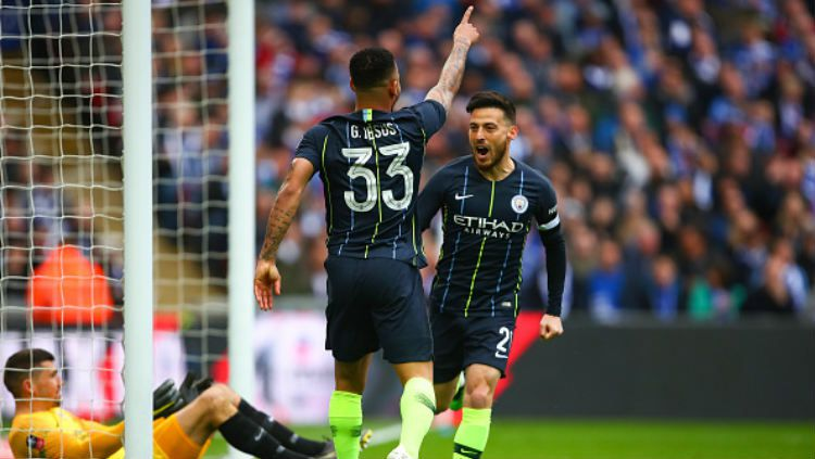Gabriel Jesus menilai Manchester City punya peluang lebih besar meraih gelar juara Liga Primer Inggris 2018/19 ketimbang Liverpool. Copyright: © Robbie Jay Barratt - AMA/Getty Images