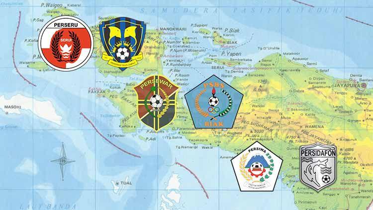 Klub-klub asal Papua yang berkiprah di berbagai kasta kompetisi Liga Indonesia. Copyright: © INDOSPORT