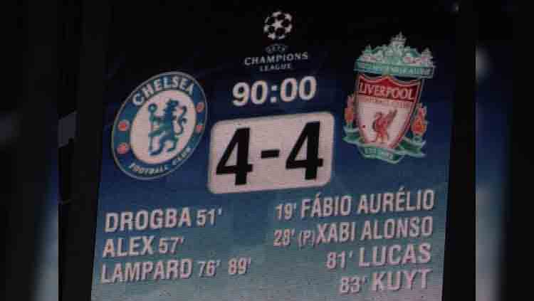 Papan skor laga Chelsea melawan Liverpool pada tahun 2008 Copyright: © Rebecca Naden/PA