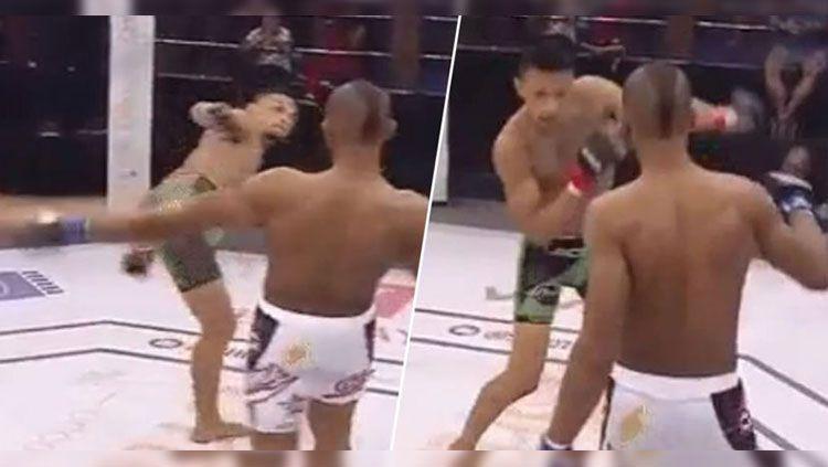 Petarung MMA, Daniel Lacerda, mengalami dislokasi bahu setelah melakukan tendangan. Copyright: © Jolassanda/Twitter