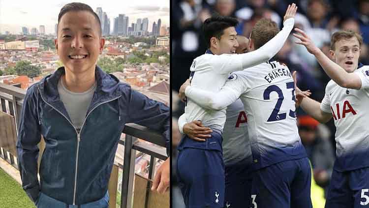 Komika papan atas Indonesia, Ernest Prakasa (kiri) mengidolakan klub Liga Primer Inggris, Tottenham Hotspur. Copyright: © Instagram Ernest Prakasa dan IAN KINGTON/GETTYIMAGES