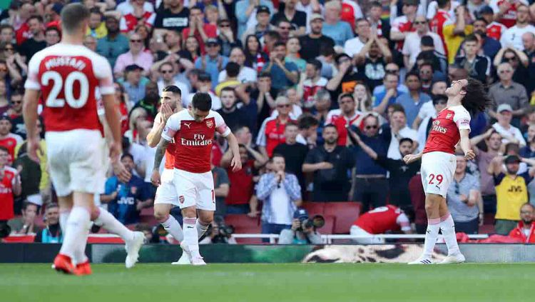 Para penggawa Arsenal tampak lesu tertinggal skor oleh Crystal Palace di Emirates Stadium, Senin 21/04/19. Warren Little/Getty Images Copyright: © Warren Little/Getty Images