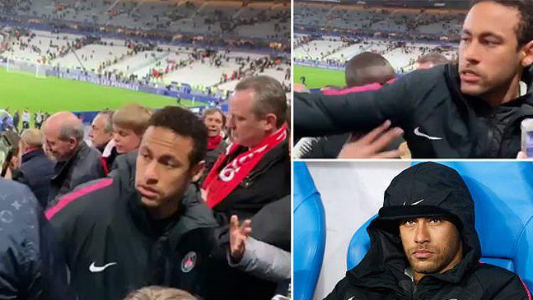Neymar meninju salah seorang fan usai laga PSG vs Rennes. Copyright: © Twitter/DerangedRadio