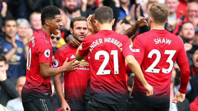 Para pemain MU merayakan gol yang dicetak Juan Mata Copyright: © Alex Livesey/Getty Images