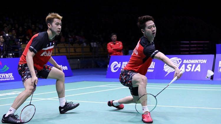Kevin Sanjaya/Marcus Gideon saat kalah di final Badminton Asia Championships 2019. Copyright: © Humas PBSI