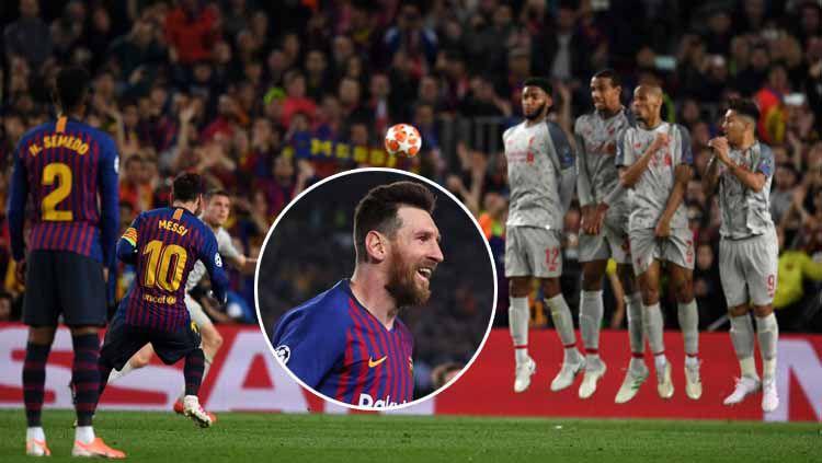 Lionel Messi saat mengekeskusi tendangan bebas ke gawang Liverpool dan gol. Etsuo Hara/Getty Images Copyright: © Etsuo Hara/Getty Images/Eli Suhaeli/INDOSPORT