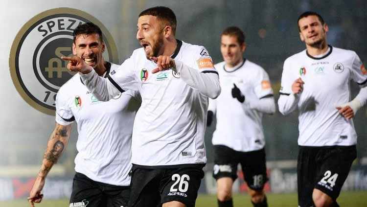 Aksi selebrasi pemain Spezia Calcio promosi Serie A Italia Copyright: © INDOSPORT