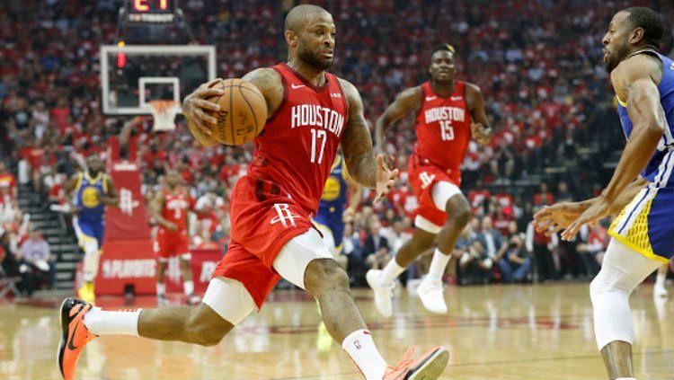 Bintang Houston Rockets, PJ Tucker absen dari timnas basket AS karena cedera. Copyright: © Tim Warner/Getty Images