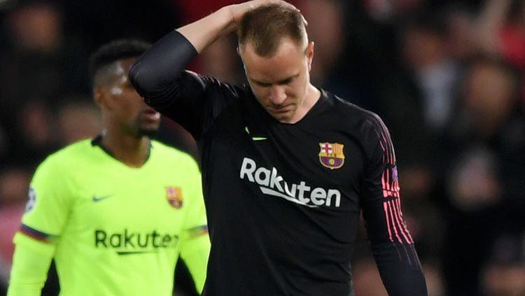 Batalnya juara LaLiga Spanyol Barcelona juga berimbas nasib miris Marc-Andre ter Stegen yang gagal ikut serta Timnas Jerman di Euro 2020. Copyright: © Shaun Botterill/Getty Images