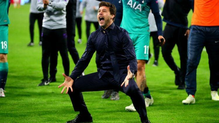 Ekspresi Kegemibaraan Mauricio Pochettino usai bawa Tottenham lolos final Liga Champions, Kamis (09/05/18), Copyright: © Chris Brunskill/Fantasista/Getty Images