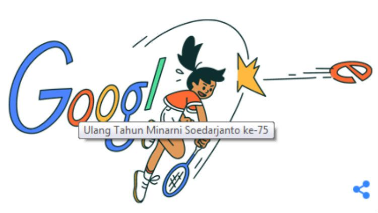 Ilustrasi Google Doodle mantan atlet bulutangkis Indonesia (alm) Minarni Soedarjanto. Copyright: © Google