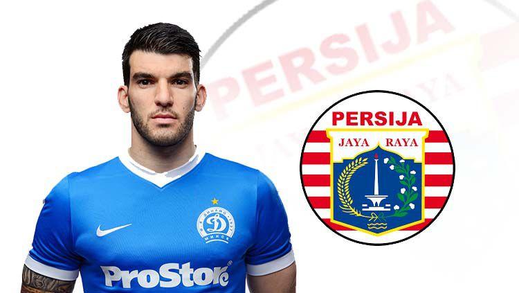 Rotkovic Luka dan logo Persija Jakarta. Copyright: © dinamo-minsk.by