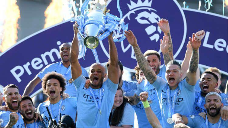 Selebrasi Manchester City saat memenangkan Liga Primer Inggris 2018/19. Mike Hewitt/Getty Images. Copyright: © Getty Images/Mike Hewitt