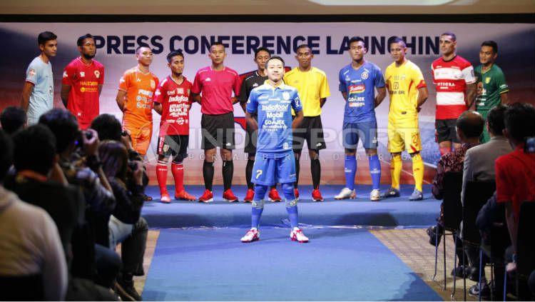 Beckham Putra mewakili Persib Bandung di launching Liga 1 2019. Foto: Herry Ibrahim/INDOSPORT Copyright: © Herry Ibrahim/INDOSPORT