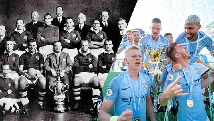 Manchester City saat juara Piala FA 1904 dan musim ini 2018/19. Copyright: © Michael Regan/Getty Images