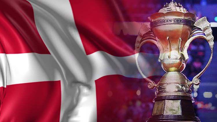 Bendera Denmark dan Piala Sudirman. Copyright: © INDOSPORT/Video Blocks